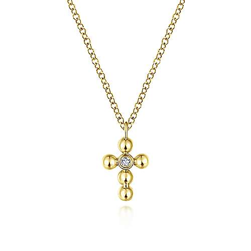 14k Yellow Gold Orb Diamond Cross Necklace