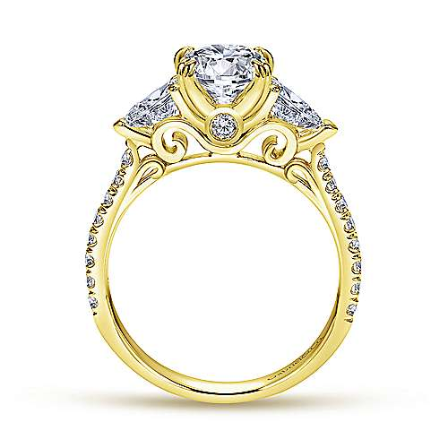 14k Yellow Gold Oval 3 Stones Engagement Ring ER9048Y44JJ