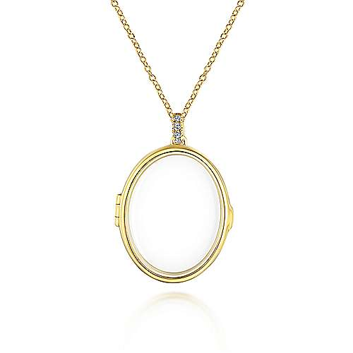 14k Yellow Gold Oval Glass Front Locket Necklace