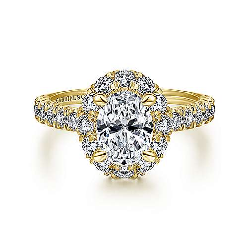 14k Yellow Gold Oval Halo Engagement Ring angle 1