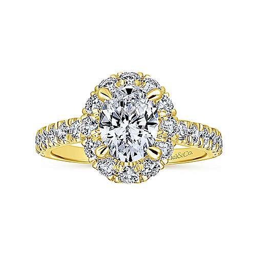 14k Yellow Gold Oval Halo Engagement Ring angle 5