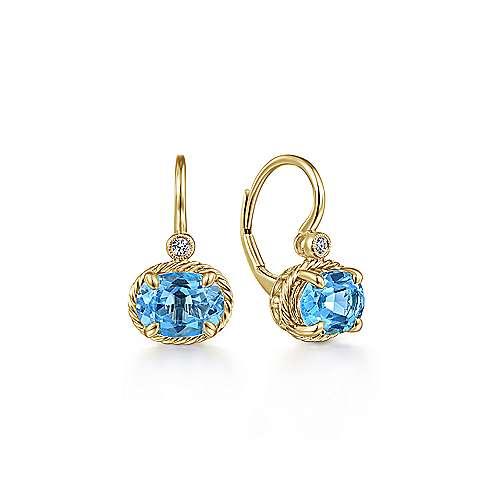Gabriel - 14k Yellow Gold Oval Swiss Blue Topaz & Diamond Drop Earrings