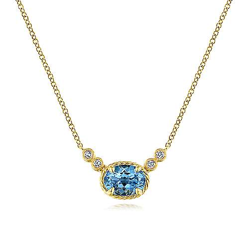 14k Yellow Gold Oval Swiss Blue Topaz & Diamond Necklace
