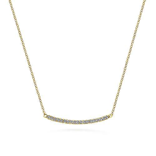 14k Yellow Gold Pave Diamond Bar Necklace angle 1