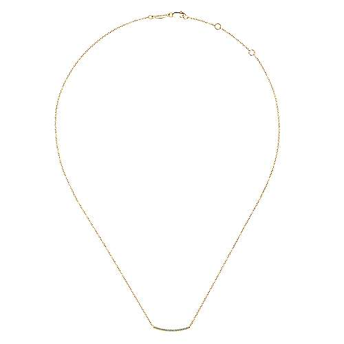 14k Yellow Gold Pave Diamond Bar Necklace angle 2