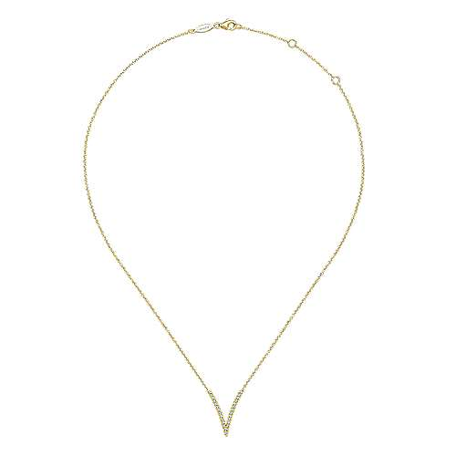 14k Yellow Gold Pave Diamond Fashion Necklace angle 2