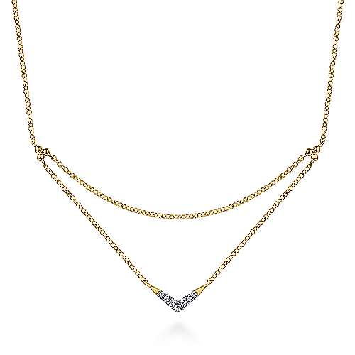 Gabriel - 14k Yellow Gold Pave Diamond Layered Chain Fashion Necklace