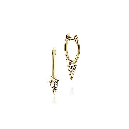 Gabriel - 14k Yellow Gold Pave Diamond Spike Drop Earrings