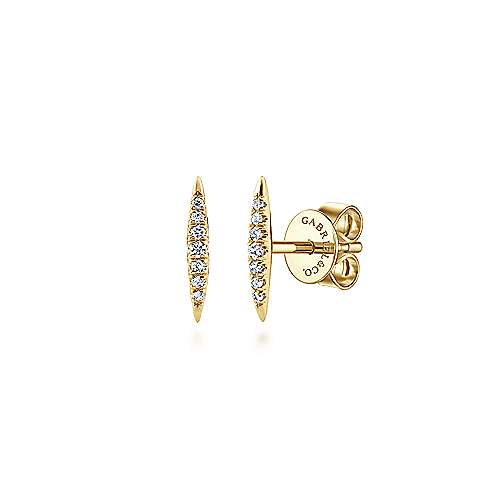 14k Yellow Gold Pave Diamond Spiked Stud Earrings