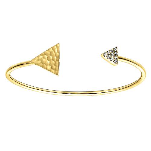 14k Yellow Gold Pave and Hammered Diamond