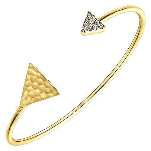 14k Yellow Gold Pave and Hammered Diamond Bangle angle 2