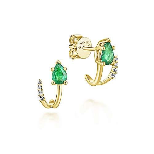 14k Yellow Gold Pear Cut Emerald & Diamond J Curve Stud Earrings