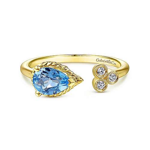 Gabriel - 14k Yellow Gold Pear Shaped Swiss Blue Topaz & Diamond Open Fashion Ring