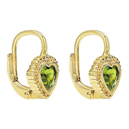 14k Yellow Gold Peridot Drop Earrings angle 2