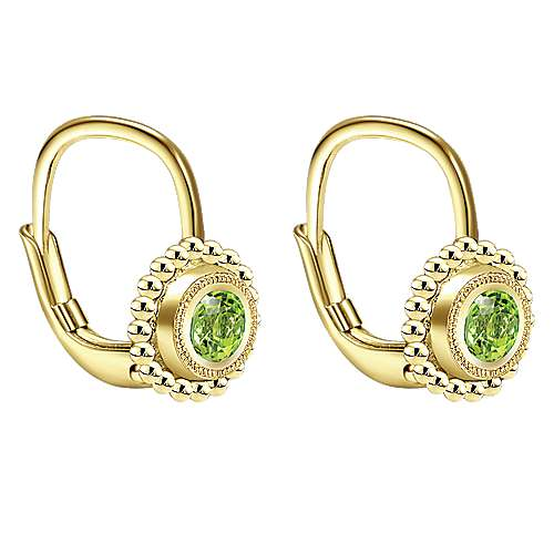 14k Yellow Gold Peridot Drop Earrings angle 2