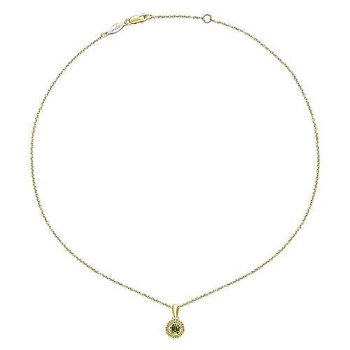 14k Yellow Gold Peridot Fashion Necklace angle 2