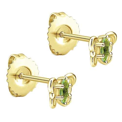 14k Yellow Gold Peridot Stud Earrings angle 2