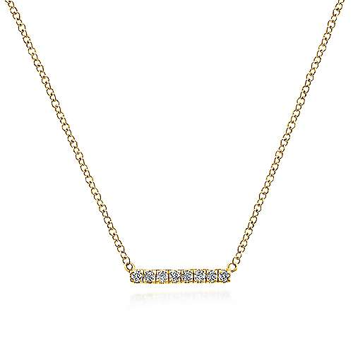 Gabriel - 14k Yellow Gold Petite Pave Diamond Bar Necklace