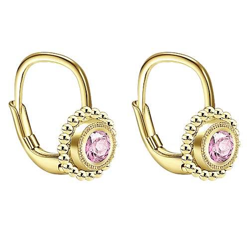 14k Yellow Gold Pink Created Zircon Drop Earrings angle 2