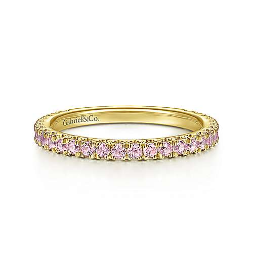14k Yellow Gold Pink Created Zircon Stackable