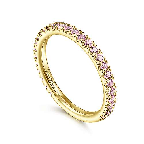 14k Yellow Gold Pink Created Zircon Stackable Ladies
