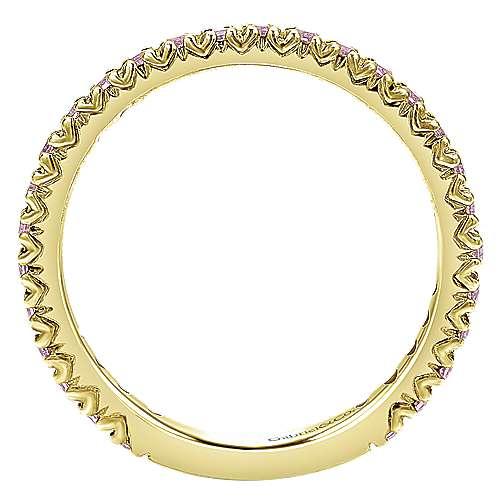 14k Yellow Gold Pink Sapphire Stackable Ladies