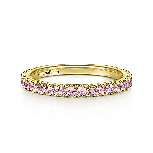 14k Yellow Gold Pink Sapphire Stackable
