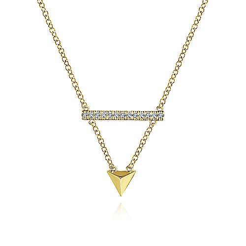 Gabriel - 14k Yellow Gold Pyramid Diamond Bar Necklace