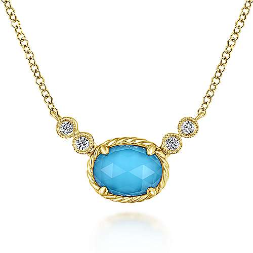 Gabriel - 14k Yellow Gold Rock Crystal & Turquoise Diamond Fashion Necklace