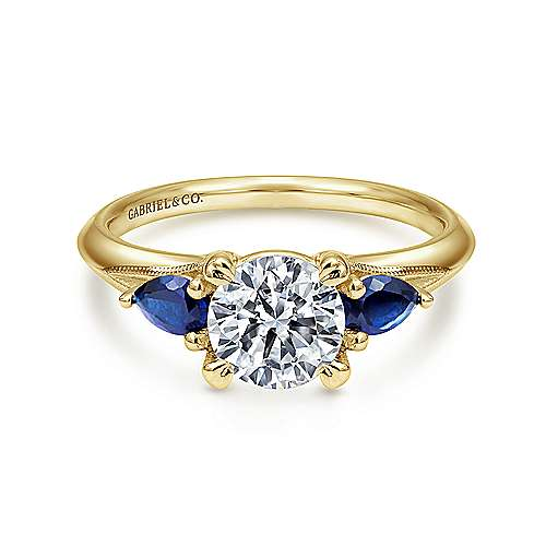 Gabriel - 14k Yellow Gold Round 3 Stones Engagement Ring