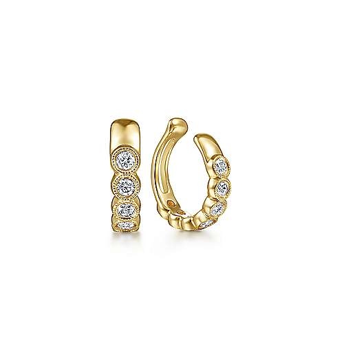 14k Yellow Gold Round Bezel Diamond Earcuff Earring