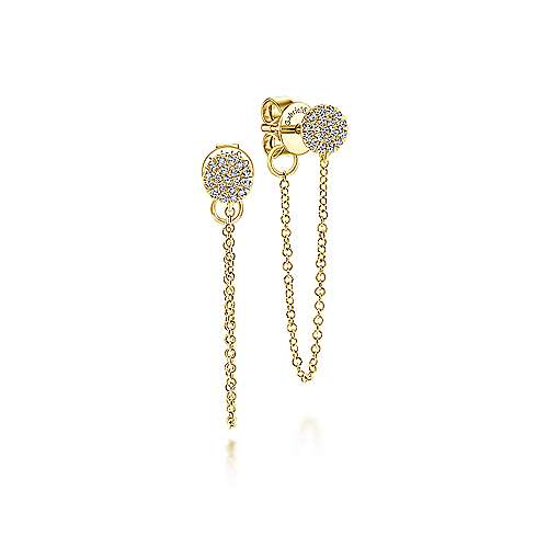 Gabriel - 14k Yellow Gold Round Diamond Chain Link Drop Earrings