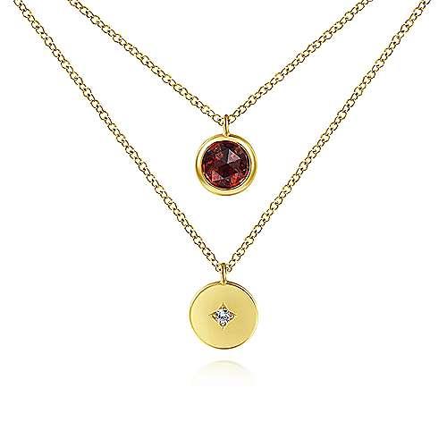 Gabriel - 14k Yellow Gold Round Garnet & Diamond Fashion Necklace