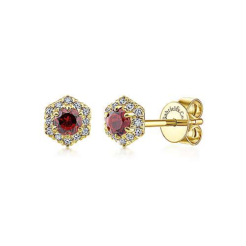 14k Yellow Gold Round Garnet & Hexagonal Diamond Halo Stud Earrings