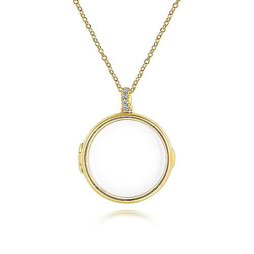 14k Yellow Gold Round Glass Front Locket Necklace