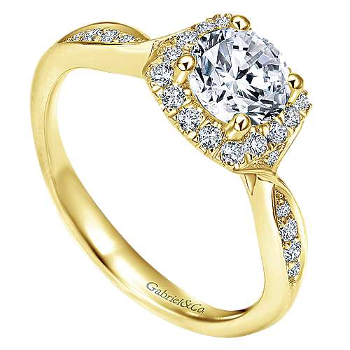 14k Yellow Gold Round Halo Engagement Ring angle 3