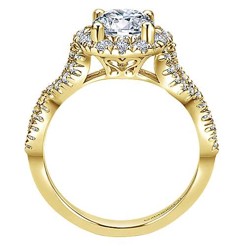 14k Yellow Gold Round Halo Engagement Ring