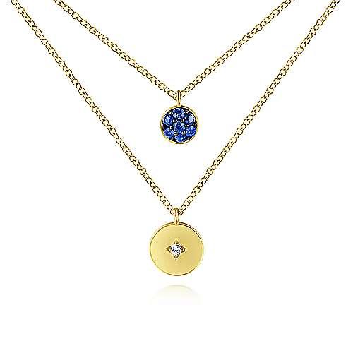 Gabriel - 14k Yellow Gold Round Sapphire Cluster & Diamond Fashion Necklace