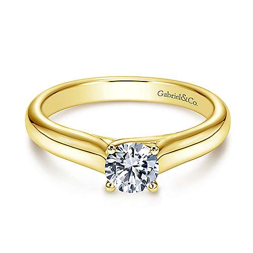 Gabriel - 14k Yellow Gold Round Solitaire Engagement Ring