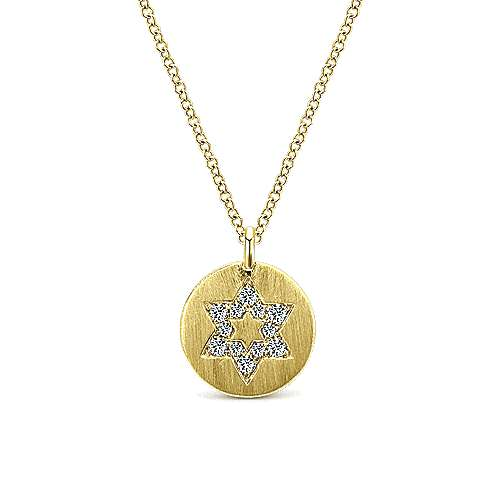 14k Yellow Gold Round Star of David Diamond Necklace