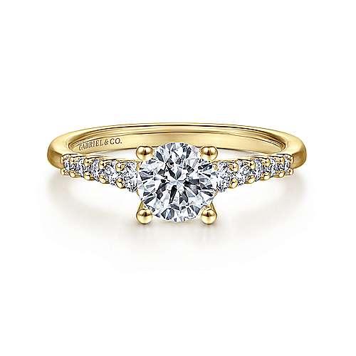 Gabriel - 14k Yellow Gold Round Straight Engagement Ring