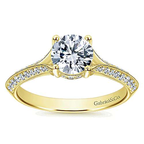 14k Yellow Gold Round Straight Engagement Ring angle 5