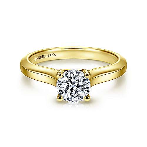 14k Yellow Gold Round Straight