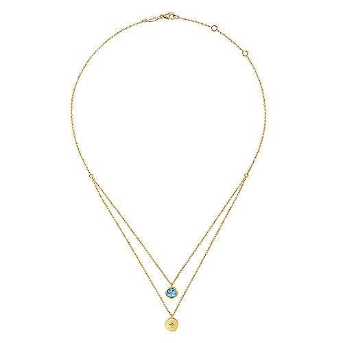 14k Yellow Gold Round Swiss Blue Topaz & Diamond Fashion Necklace
