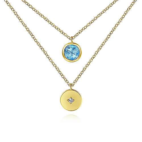 14k Yellow Gold Round Swiss Blue Topaz Fashion Necklace