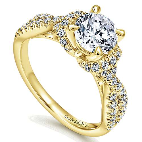 14k Yellow Gold Round Twisted Engagement Ring angle 3