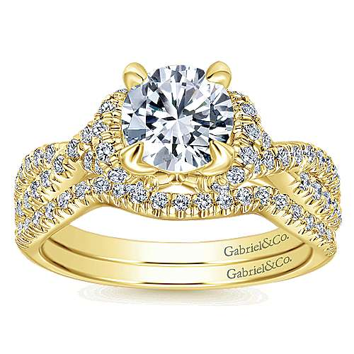 14k Yellow Gold Round Twisted Engagement Ring angle 4