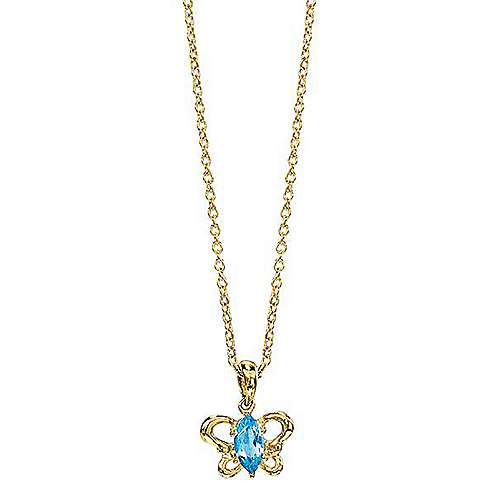 14k Yellow Gold Secret Garden Butterfly Necklace angle 1