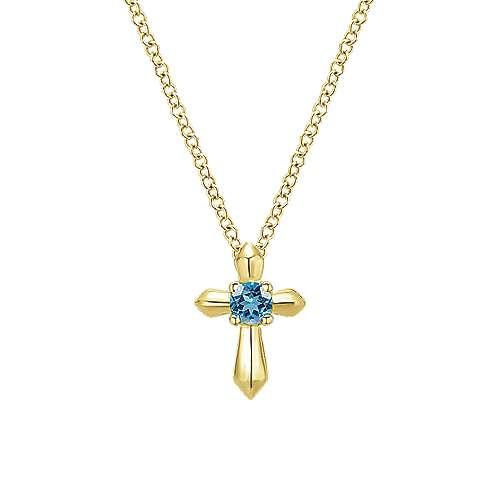 14k Yellow Gold Secret Garden Cross Necklace