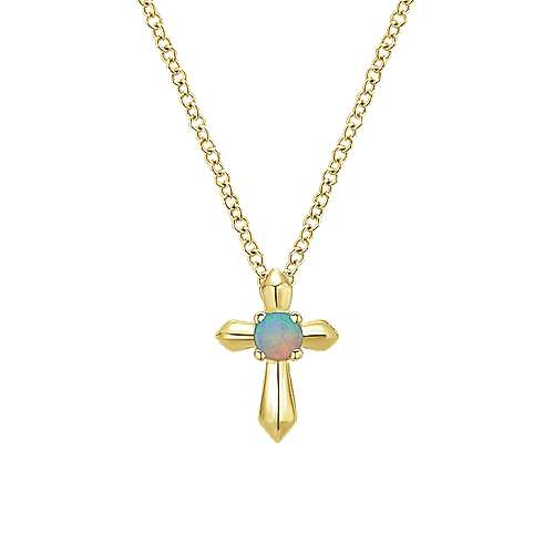 14k Yellow Gold Secret Garden Cross Necklace